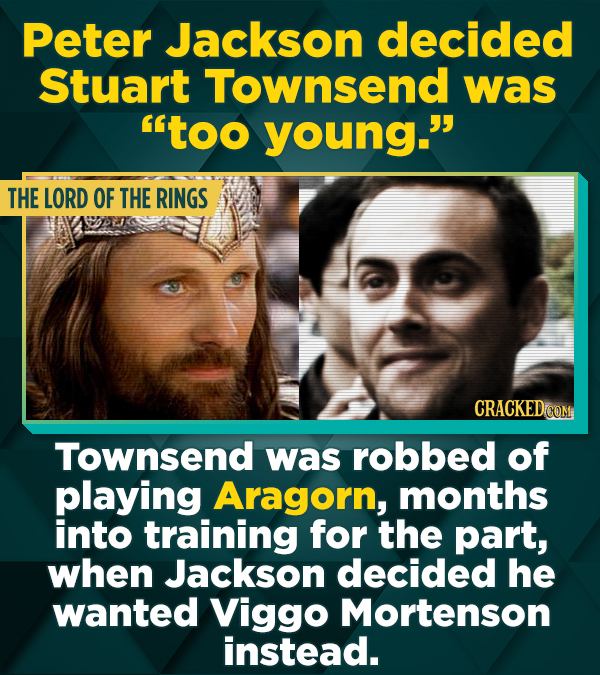 Peter Jackson decided Stuart Townsend was too young. THE LORD OF THE RINGS Townsend was robbed of playing Aragorn, months into training for the part