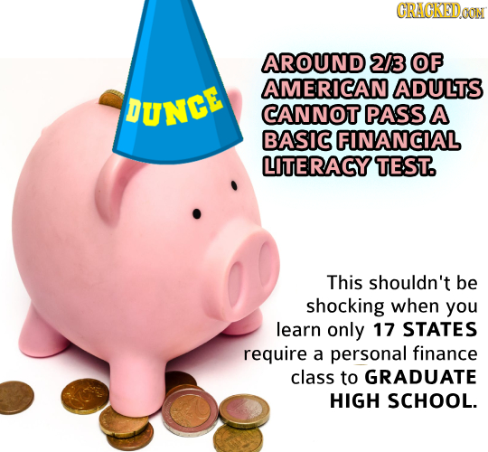CRAGKEDOON AROUND 2/3 OF AMERICAN ADULTS DUNGE CANNOT PASS A BASIC FINANCIAL LITERACY TEST. This shouldn't be shocking when you learn only 17 STATES r