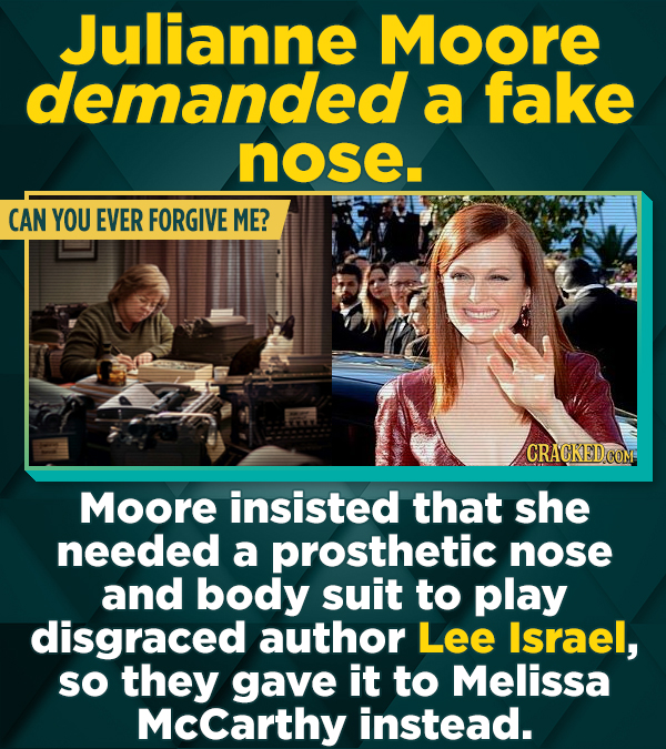 Julianne Moore demanded a fake nose. CAN YOU EVER FORGIVE ME? Moore insisted that she needed a prosthetic nose and body suit to play disgraced author