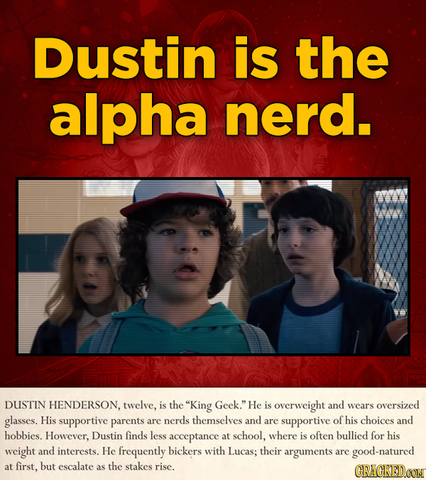 Dustin is the alpha nerd. DUSTIN HENDERSON, twelve, is the King Geek. He is overweight and wears oversized glasses. His supportive parents are nerds