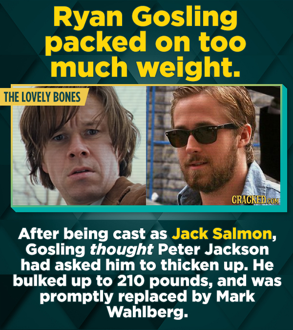 Ryan Gosling packed on tOo much weight. THE LOVELY BONES CRACKED CON After being cast as Jack Salmon, Gosling thought Peter Jackson had asked him to t