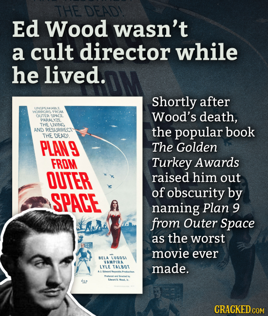 THE DEADI Ed Wood wasn't a cult director while he lived. Shortly after LMSPEAKAPO HocRe FRc Wood's death, OLITER SPAe PARALYZE THE LIING AND RESURRET
