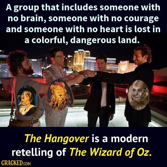 A group that includes someone with no brain, someone with no courage and someone with no heart is lost in a colorful, dangerous land. The Hangover is