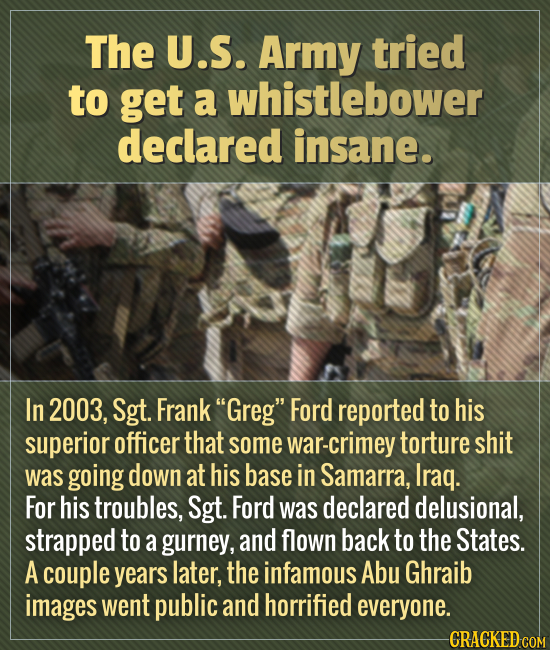 The U.S. Army tried to get a whistlebower declared insane. In 2003, Sgt. Frank Greg Ford reported to his superior officer that some war-crimey tortu