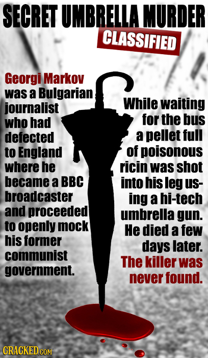 SECRET UMBRELLA MURDER CLASSIFIED Georgi Markov was a Bulgarian journalist While waiting who had for the bus defected a pellet full to England of pois