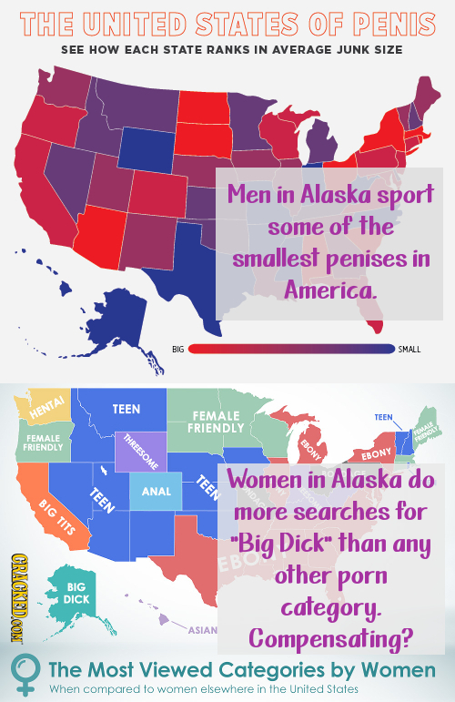 THE UNITED STATES OF PENIS SEE HOW EACH STATE RANKS IN AVERAGE JUNK SIZE Men in Alaska sport some of the smallest penises in America. BIG SMALL TEEN H