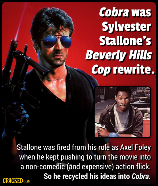 Cobra was Sylvester Stallone's Beverly Hills Cop rewrite. Stallone was fired from his role as Axel Foley when he kept pushing to turn the movie into a