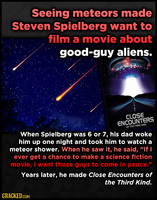 Seeing meteors made Steven Spielberg want to film a movie about good-guy aliens. CLOSE ENCOUNTERS THIRO KINO of THE When Spielberg was 6 or 7, his dad