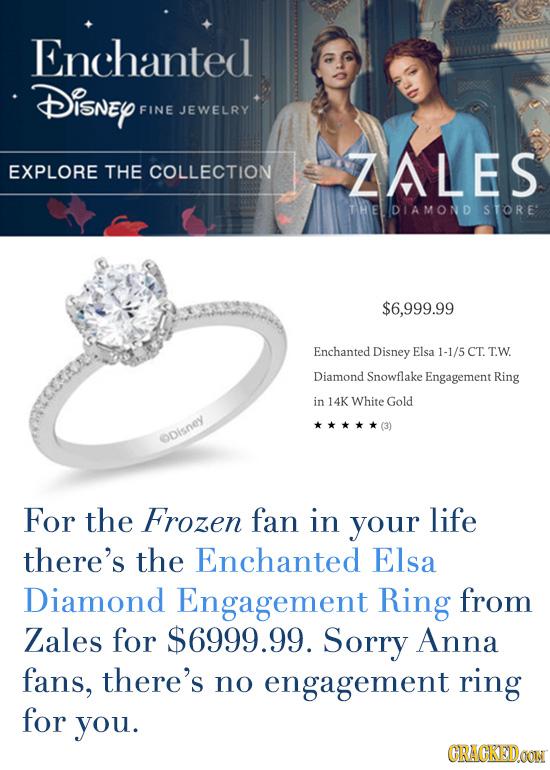 Enchanted Disney FINE JEWELRY ZALES EXPLORE THE COLLECTION THEDIAMOND S TORE $6,999.99 Enchanted Disney Elsa 1-1/5 CT. TW. Diamond Snowflake Engagemen