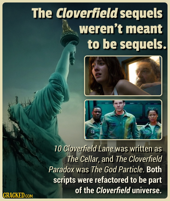 The Cloverfield sequels weren't meant to be sequels. e 10 Cloverfield Lane was written as The Cellar, and The Cloverfield Paradox was The God Particle