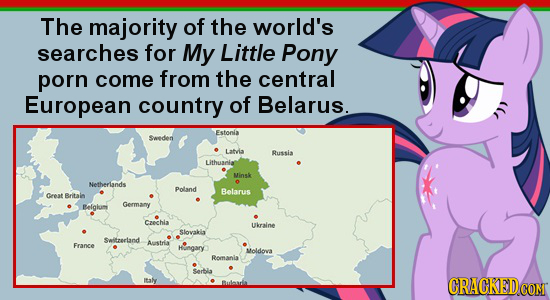 The majority of the world's searches for My Little Pony porn come from the central European country of Belarus. Fstonla Sweden Latvia Bussia Lithuania