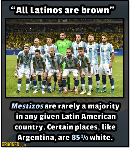 All Latinos are brown 15 10 17 15 Mestizosa are rarely a majority in any given Latin American country. Certain places, like Argentina, are 850/0 whi