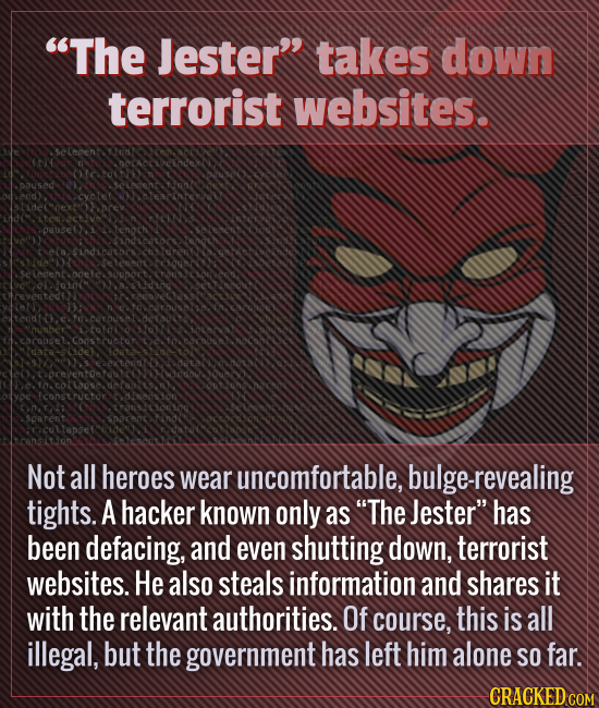 The Jester takes down terrorist websites. Not all heroes wear uncomfortable, bulge-revealing tights. A hacker known only as The Jester has been de