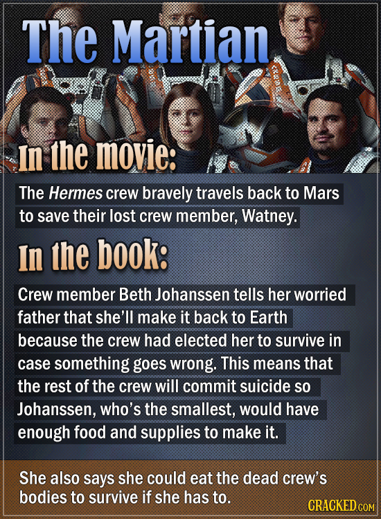 The Martian In the movie: The Hermes crew bravely travels back to Mars to save their lost crew member, Watney. In the book: Crew member Beth Johanssen