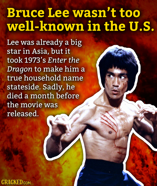 Bruce Lee wasn't too well-known in the U.S. Lee was already a big star in Asia, but it took 1973's Enter the Dragon to make him a true household name