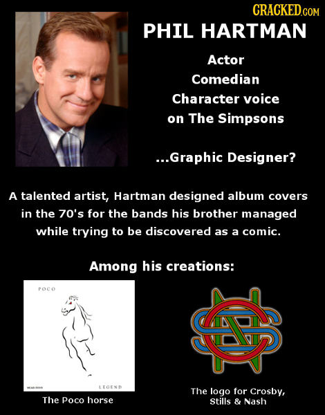 CRACKED PHIL HARTMAN Actor Comedian Character voice on The Simpsons ..Graphic Designer? A talented artist, Hartman designed album covers in the 70's f