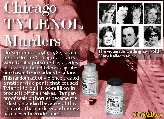 Chicago TYLENOL Murders On September 29th, The victims including 12-yr-old 1982, seven S, people in the Chicagoland Mary Kellerman. area were fatally