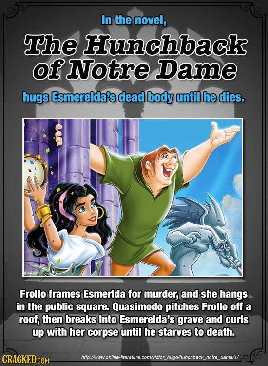 In the novel, The Hunchback of Notre Dame hugs Esmerelda's dead body until he dies. Frollo frames Esmerlda for murder, and she hangs in the public squ