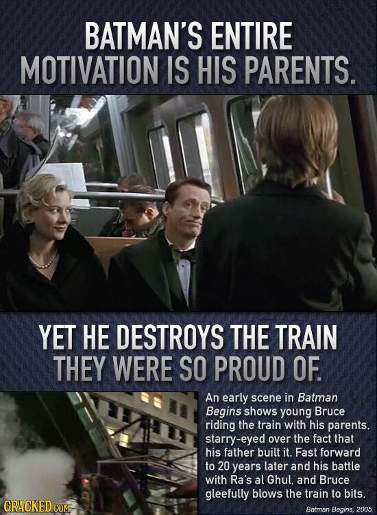 BATMAN'S ENTIRE MOTIVATION IS HIS PARENTS. YET HE DESTROYS THE TRAIN THEY WERE SO PROUD OF. An early scene in Batman Begins shows young Bruce riding t