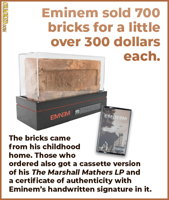 CRACKEDOON Eminem sold 700 bricks for a little over 300 dollars each. EMIEM EMINAM The bricks came from his childhood home. Those who ordered also got