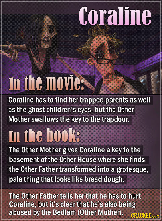 Coraline In the movie: Coraline has to find her trapped parents as well as the ghost children's eyes, but the Other Mother swallows the key to the tra