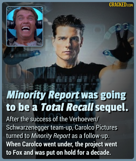 Minority Report was going to be a Total Recall sequel. After the success of the Verhoeven/ Schwarzenegger team-up, Carolco Pictures turned to Minority