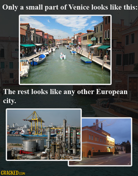 Only a small part of Venice looks like this: The rest looks like any other European city. L HO m n
