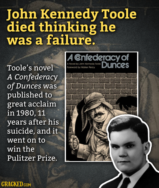 John Kennedy Toole died thinking he was a failure. A Cnfederacy of Dunces Toole's novel ANovel by John Kennedy toole Foreword bv Walker Parcy A Confed