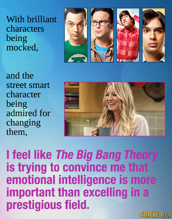 With brilliant characters being mocked, and the street smart character being admired for changing them, I feel like The Big Bang Theory is trying to c