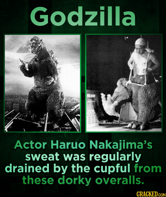 Godzilla Actor Haruo Nakajima's sweat was regularly drained by the cupful from these dorky overalls. CRACKED.COM