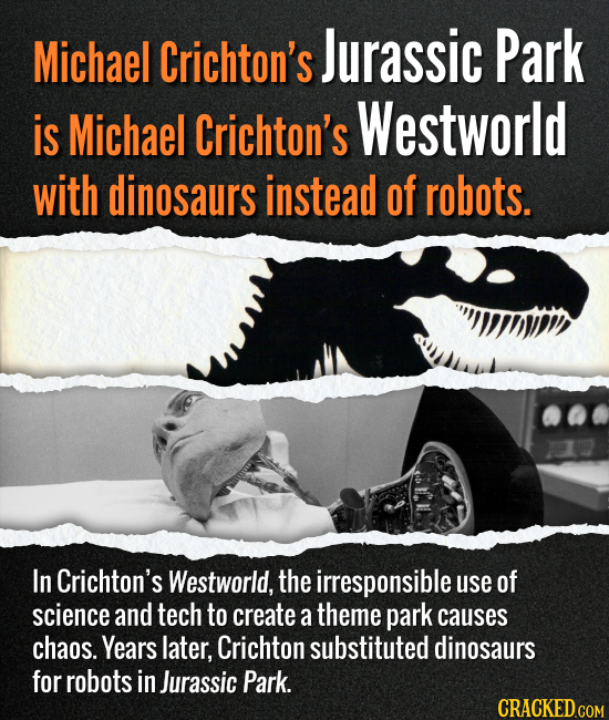 Michael Crichton's Jurassic Park is Michael Crichton's Westworld with dinosaurs instead of robots. In Crichton's Westworld, the irresponsible use of s