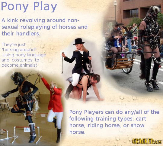 Pony Play A kink revolving around non- sexual roleplaying of horses and their handlers. They're just horsing around using body language and costumes