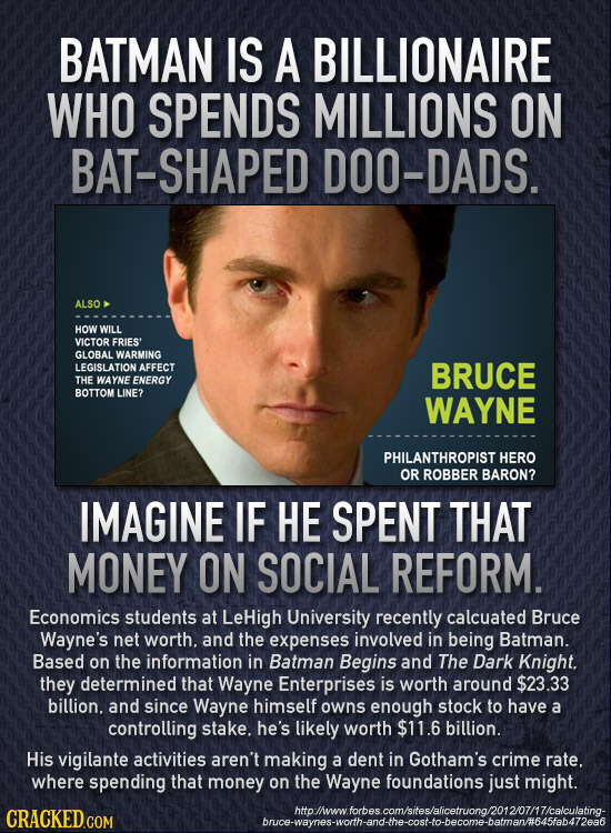 BATMAN IS A BILLIONAIRE WHO SPENDS MILLIONS ON BAT-SHAPED DOO-DADS. ALSO HOW WILL VICTOR FRIES' GLOBAL WARMING LEGISLATION AFFECT BRUCE THE WAYNE ENER