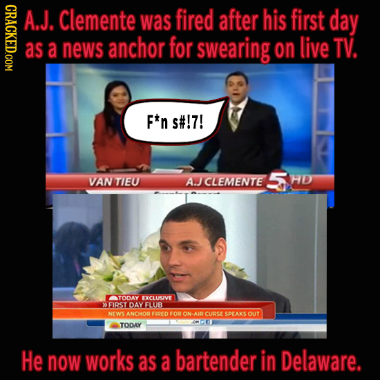 NDOTI A.J. Clemente was fired after his first day as a news anchor for swearing on live TV. F*n s#!7! VAN 5 TIEU A.JCLEMENTE HD TODAY EXCLUSIVE >FIRST