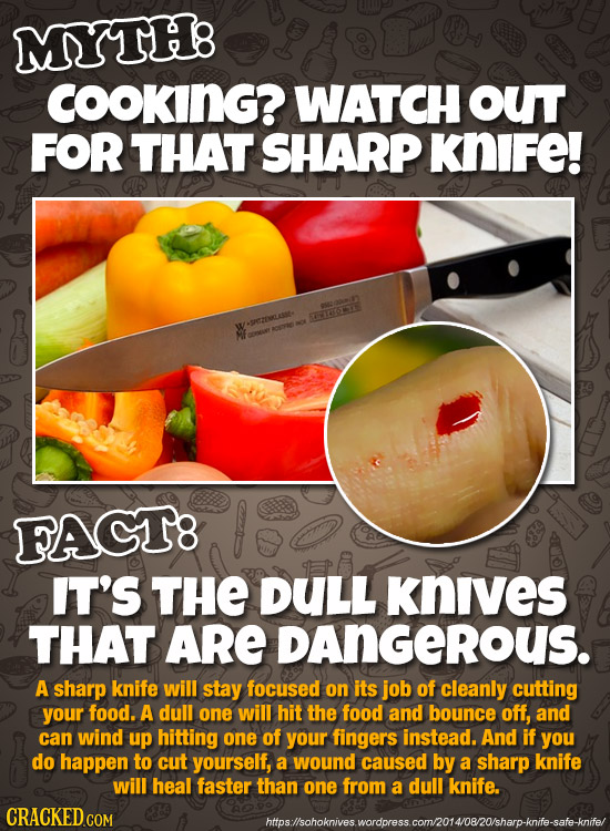 MYTH COOKING? WATCH out FOR THAT SHARP KNIFe! SV152 AEZMLAST FACT8 IT'S THE DULL knives THAT ARE DAnGEROUS. A sharp knife will stay focused on its job