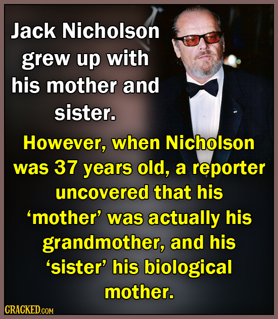 Jack Nicholson grew up with his mother and sister. However, when Nicholson was 37 years old, a reporter uncovered that his 'mother' was actually his g