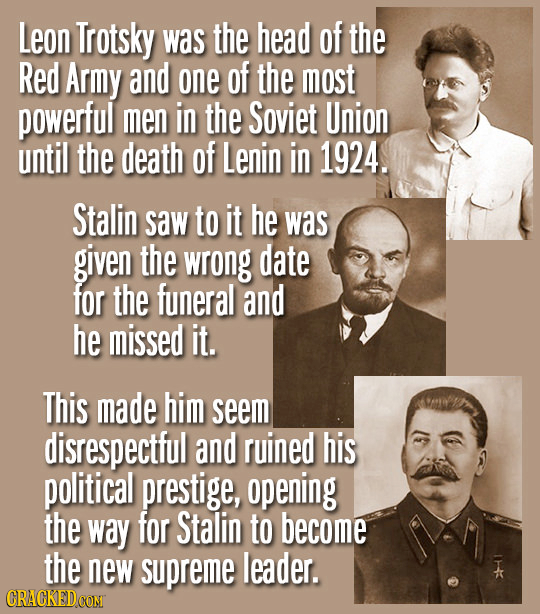 Leon Trotsky was the head of the Red Army and one of the most powerful men in the Soviet Union until the death of Lenin in 1924. Stalin saw to it he w