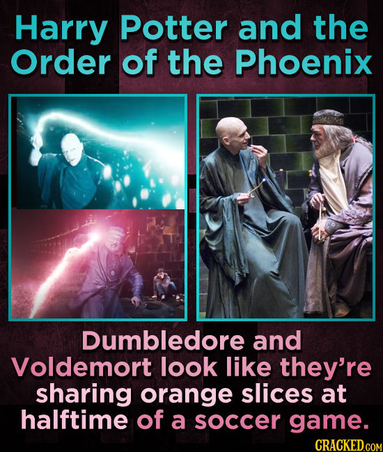 Harry Potter and the Order of the Phoenix Dumbledore and Voldemort look like they're sharing orange slices at halftime of a soccer game.