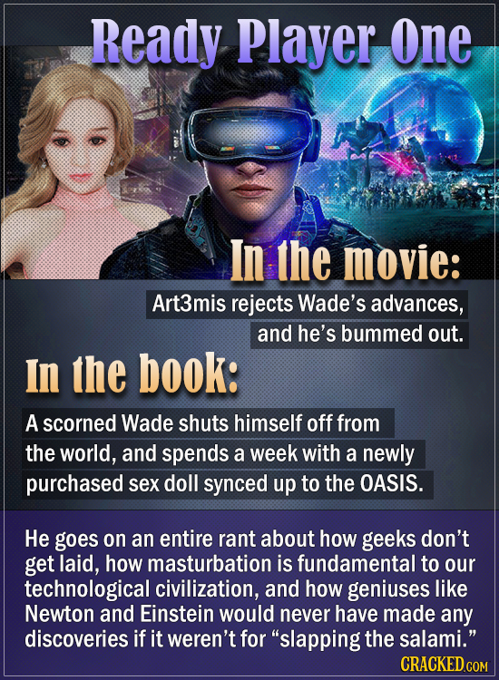 Ready Player One In the movie: Art3mis rejects Wade's advances, and he's bummed out. In the book: A scorned Wade shuts himself off from the world, and