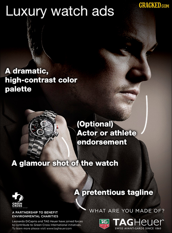 Luxury watch ads CRACKEDcO A dramatic, high-contrast color palette (Optional) Actor or athlete endorsement A glamour shot of the watch A pretentious t