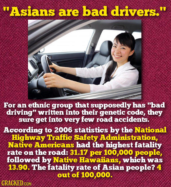 Asians are bad drivers. For an ethnic group that supposedly has bad driving written into their genetic code, they sure get into very few road acci