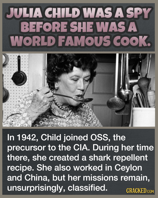 JULIA CHILD WAS A SPY BEFORE SHE WAS A WORLD FAMOUS COOK. In 1942, Child joined OSS, the precursor to the CIA. During her time there, she created a sh