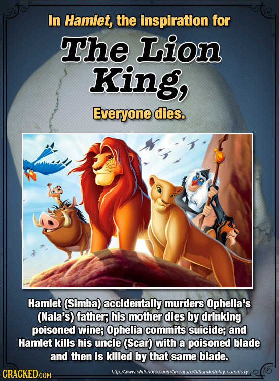 In Hamlet, the inspiration for The Lion King, Everyone dies. Hamlet (Simba) accidentally murders Ophelia's (Nala's) father; his mother dies by drinkin