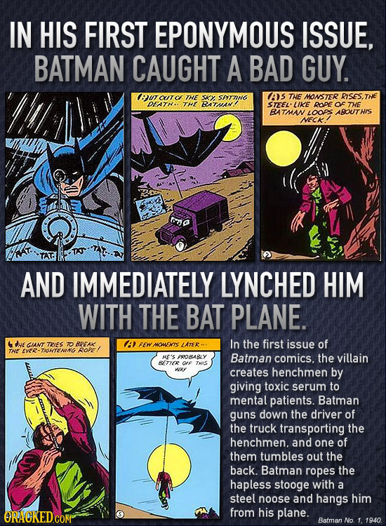 IN HIS FIRST EPONYMOUS ISSUE, BATMAN CAUGHT A BAD GUY. Bu UC TE SKY STTING AS THE MONSTER RISESTHE OFATN. THE RATSAN! STEEL LIKE ROPE oF TE BATMAN LOO
