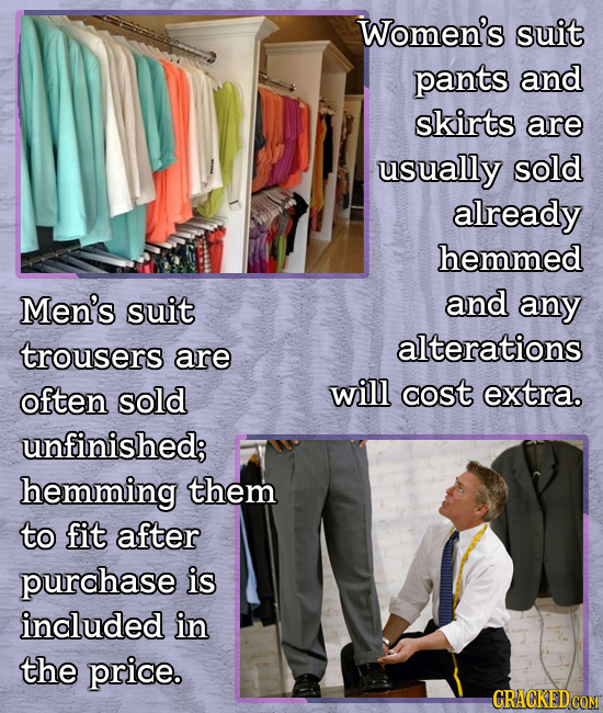 Women's suit pants and skirts are usually sold already hemmed Men's suit and any trousers alterations are often sold will cost extra. unfinished; hemm