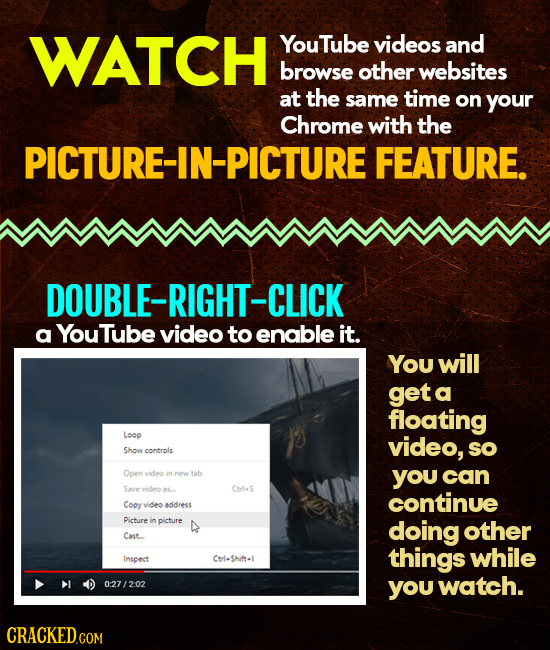 WATCH YouTube videos and browse other websites at the same time on your Chrome with the PICTURE-IN-PICTURE FEATURE. DOUBLE-RIGHT- -CLICK a YouTube vid