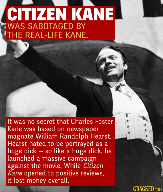CITIZEN KANE WAS SABOTAGED BY THE REAL-LIFE KANE. It was no secret that Charles Foster Kane was based on newspaper magnate William Randolph Hearst. He
