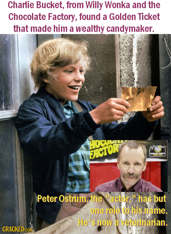 Charlie Bucket, from Willy Wonka and the Chocolate Factory, found a Golden Ticket that made him a wealthy candymaker. OCUNI FACTOR Peter Ostrum, the m