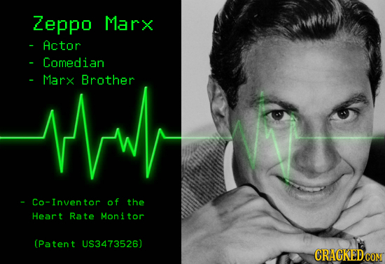 Zeppo Marx - Actor Comedian thw - Marx Brother -Co-Inventor of the Heart Rate Monitor (Patent US3473526)