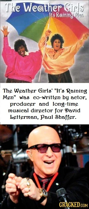 'T'he Weather Girls It's Raining Men The Weather Girla' It's Raining Men was co-Written by actor, producer and long-time musical director for David